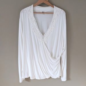 Together faux wrap white lace top